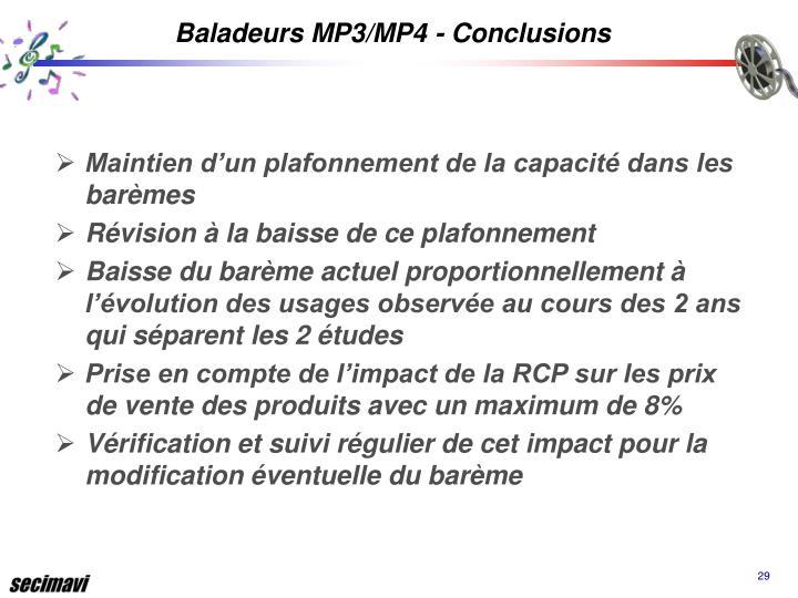 Baladeurs MP3/MP4 - Conclusions