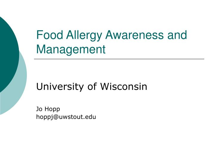 food allergy awareness and management n.