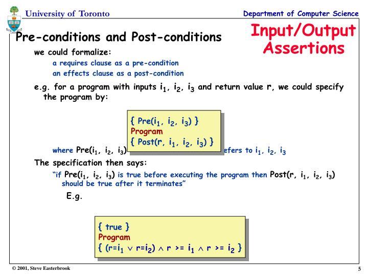 Input/Output Assertions