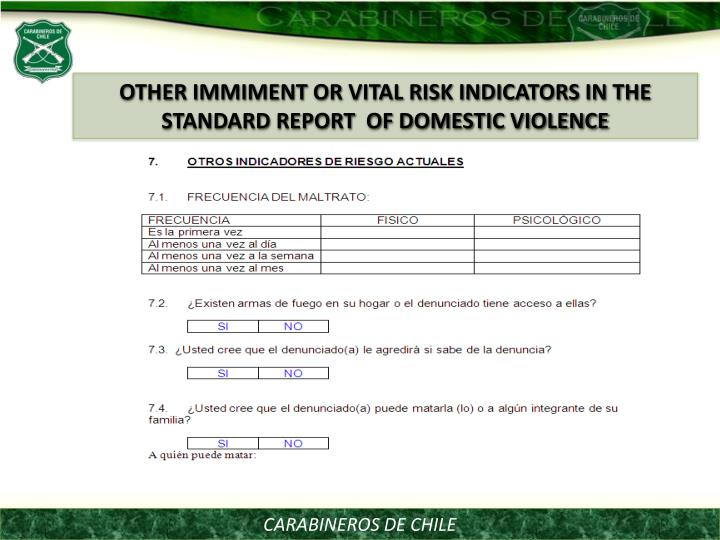OTHER IMMIMENT OR VITAL RISK INDICATORS IN THE STANDARD REPORT  OF DOMESTIC VIOLENCE