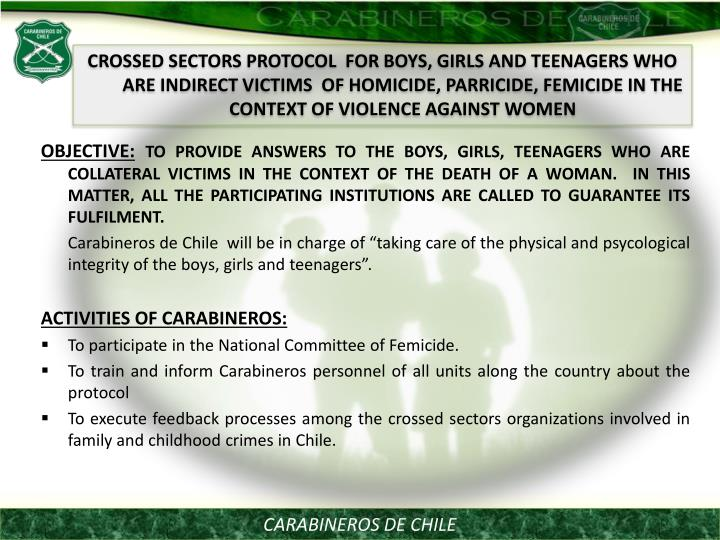 CROSSED SECTORS PROTOCOL  FOR BOYS, GIRLS AND TEENAGERS WHO ARE INDIRECT VICTIMS  OF HOMICIDE, PARRICIDE, FEMICIDE IN THE CONTEXT OF VIOLENCE AGAINST WOMEN