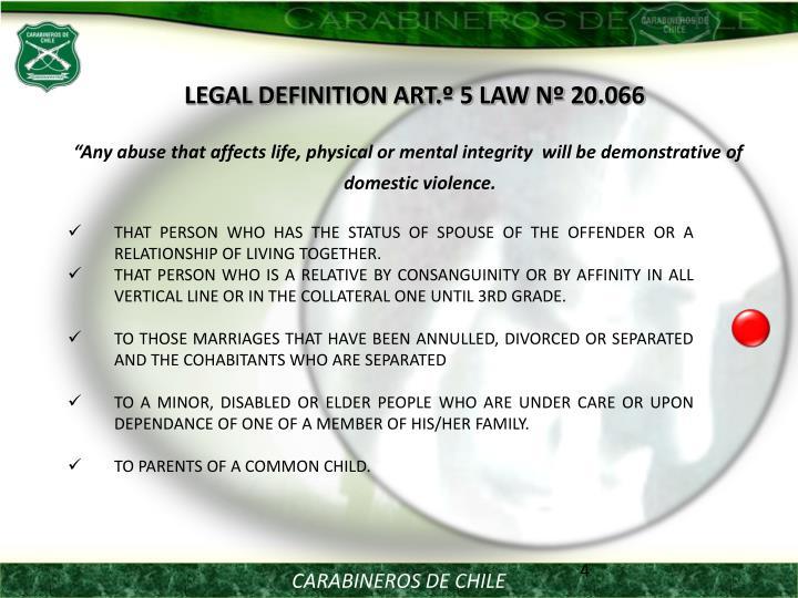 LEGAL DEFINITION ART.º 5 LAW Nº 20.066