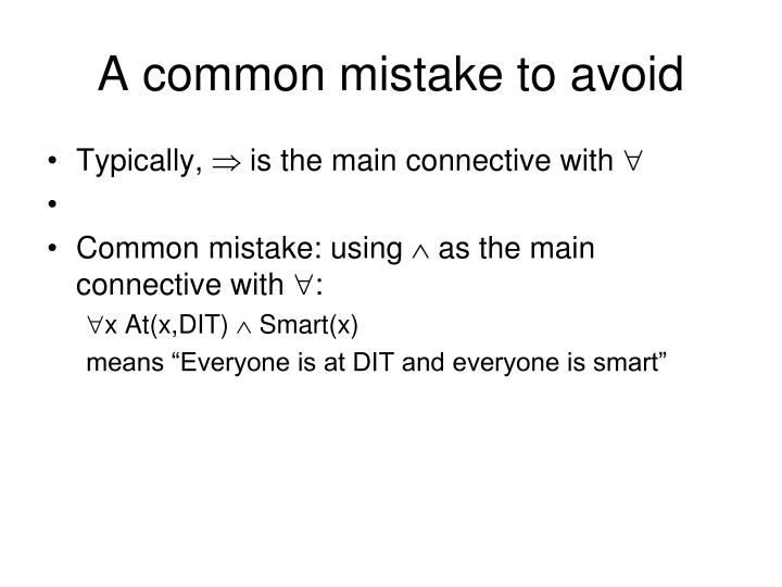 A common mistake to avoid