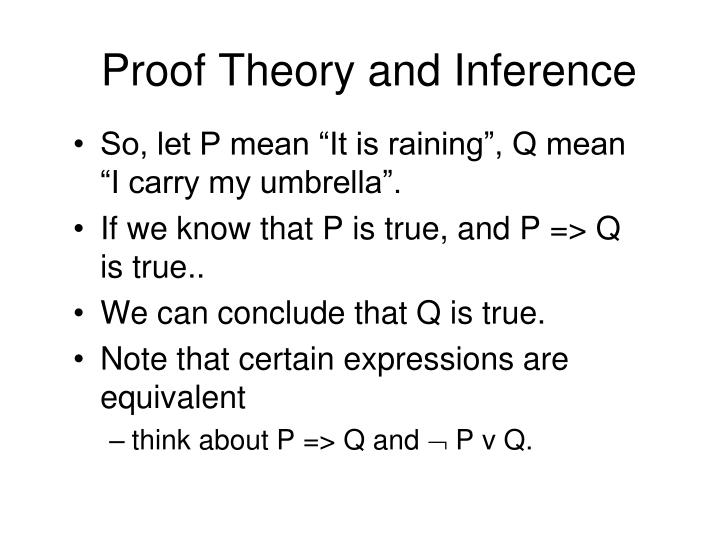Proof Theory and Inference