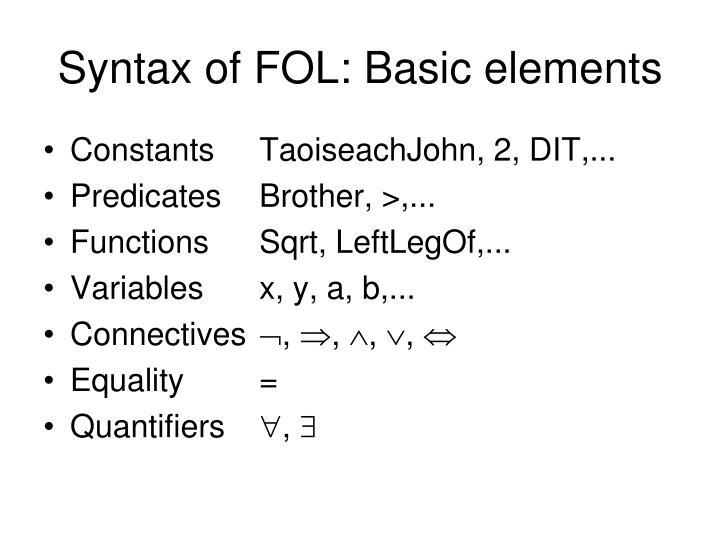 Syntax of FOL: Basic elements