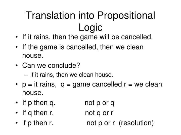 Translation into Propositional Logic