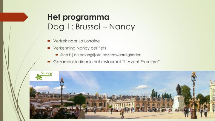 Het programma dag 1 brussel nancy