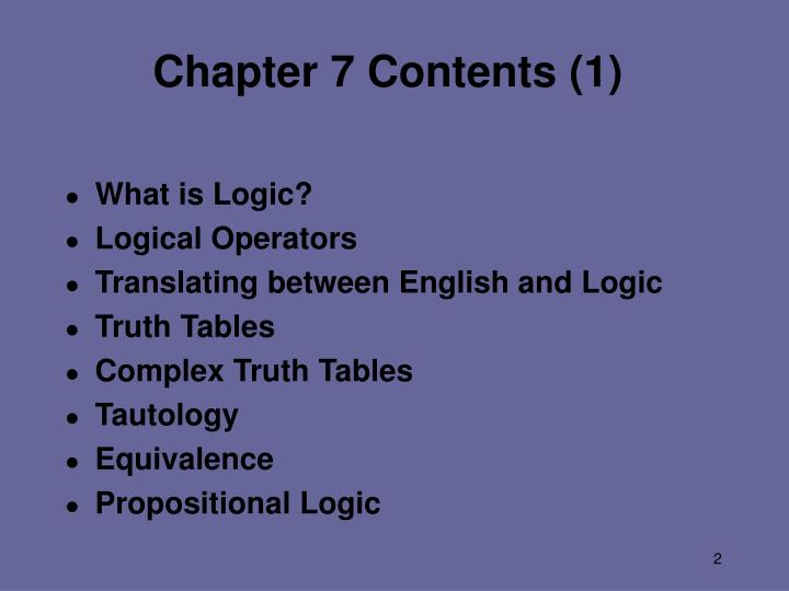 Chapter 7 contents 1