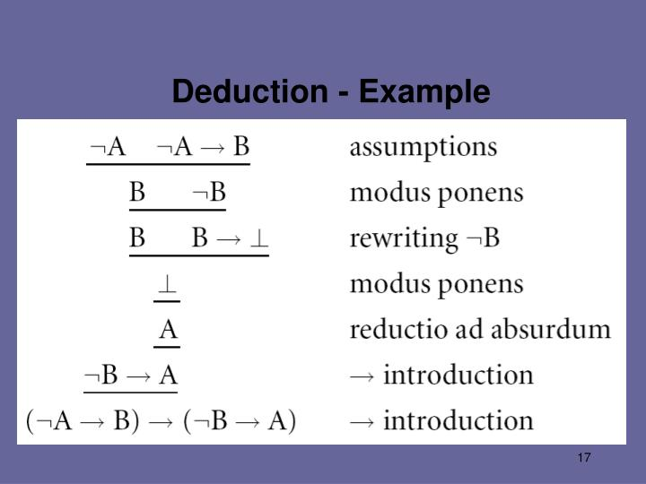 Deduction - Example