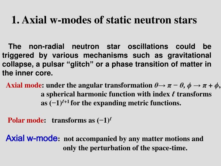 1. Axial w-modes of static neutron stars