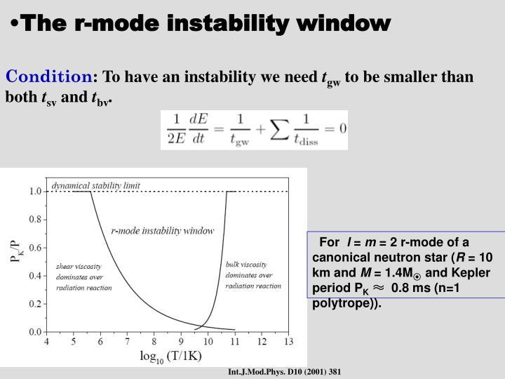 The r-mode instability window