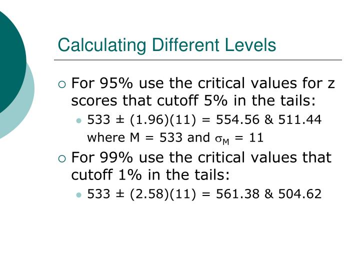 Calculating Different Levels