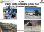 food organic waste composting to local food production from community gardens