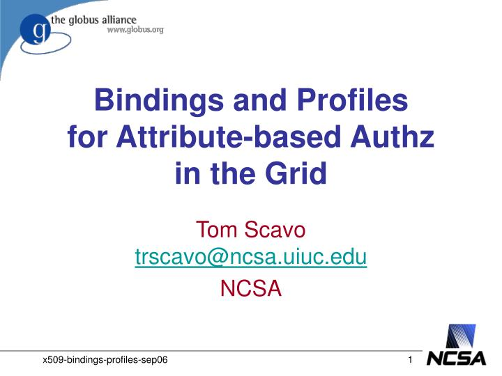 bindings and profiles for attribute based authz in the grid n.