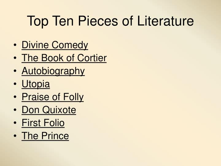 Top Ten Pieces of Literature