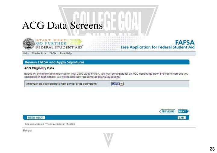 ACG Data Screens