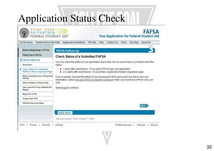 Application Status Check