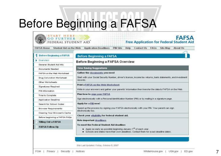 Before Beginning a FAFSA
