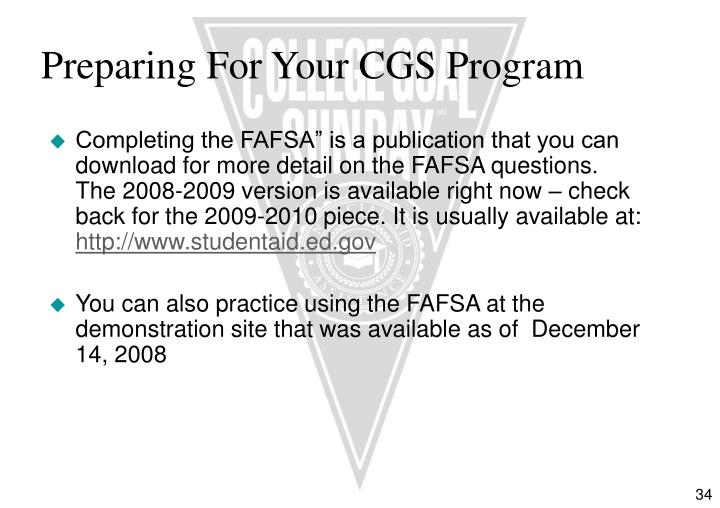 Preparing For Your CGS Program