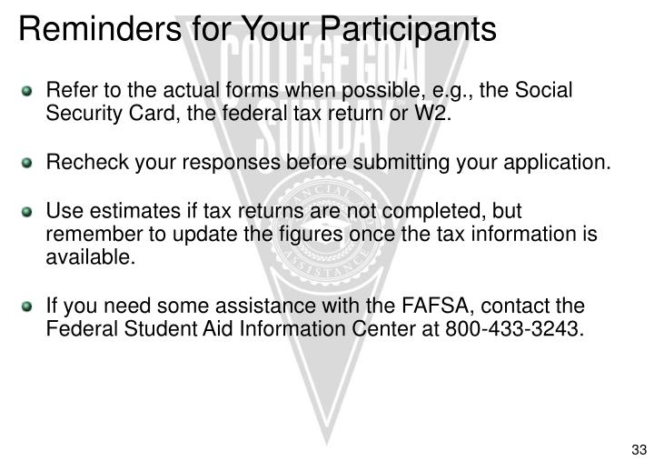 Reminders for Your Participants