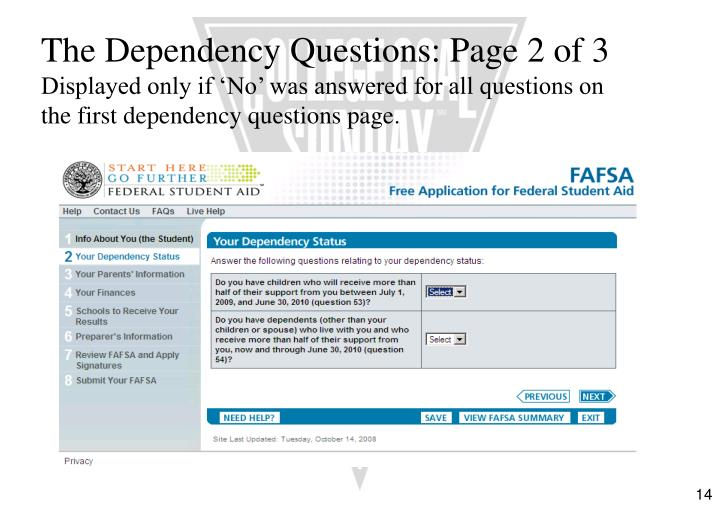 The Dependency Questions: Page 2 of 3