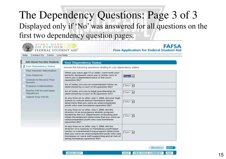 The Dependency Questions: Page 3 of 3