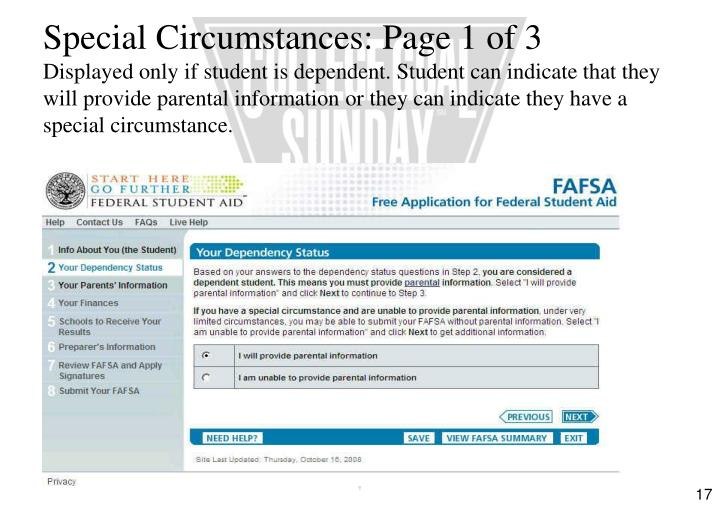 Special Circumstances: Page 1 of 3