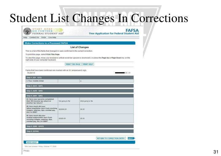 Student List Changes In Corrections