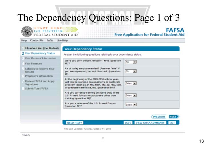 The Dependency Questions: Page 1 of 3