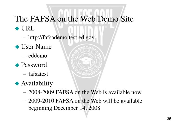 The FAFSA on the Web Demo Site