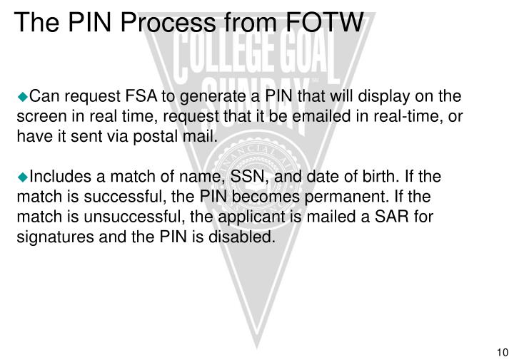 The PIN Process from FOTW