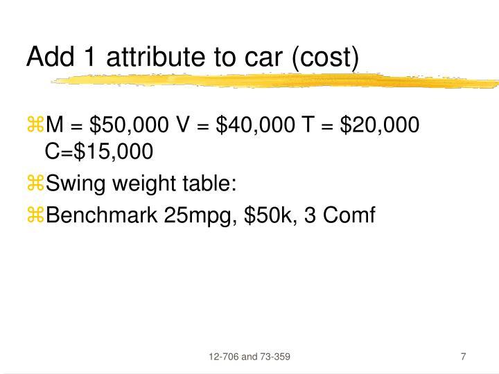 Add 1 attribute to car (cost)
