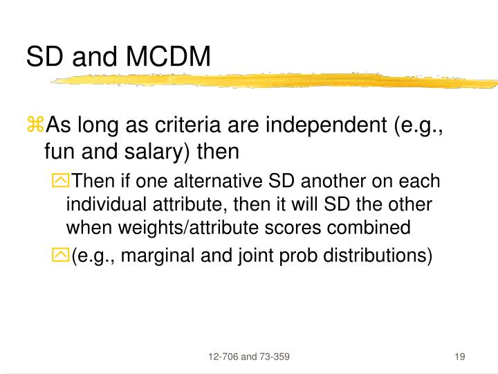 SD and MCDM