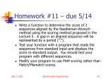homework 11 due 5 14