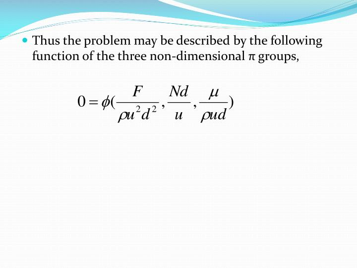 Thus the problem may be described by the following function of the three non-dimensional