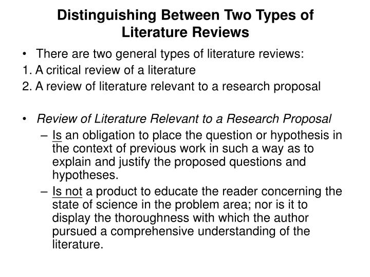 Distinguishing Between Two Types of Literature Reviews