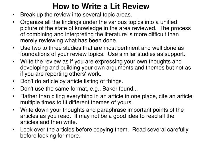 How to Write a Lit Review