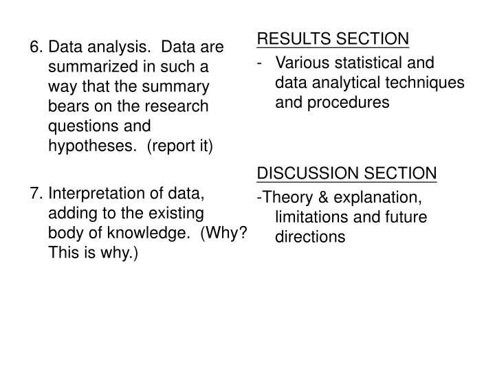 6. Data analysis.  Data are summarized in such a way that the summary bears on the research questions and hypotheses.  (report it)