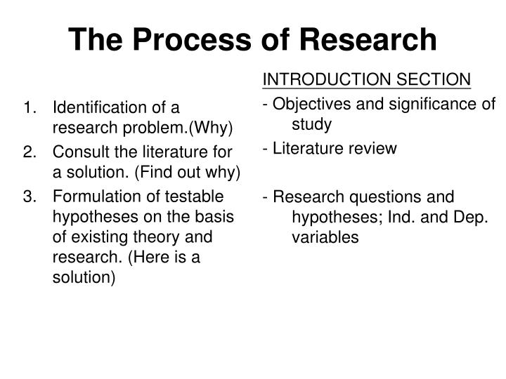 1.Identification of a research problem.