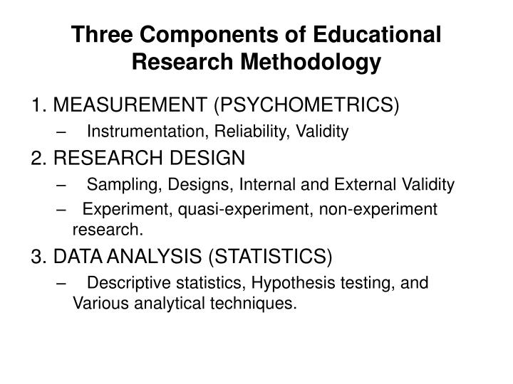 Three Components of Educational Research Methodology
