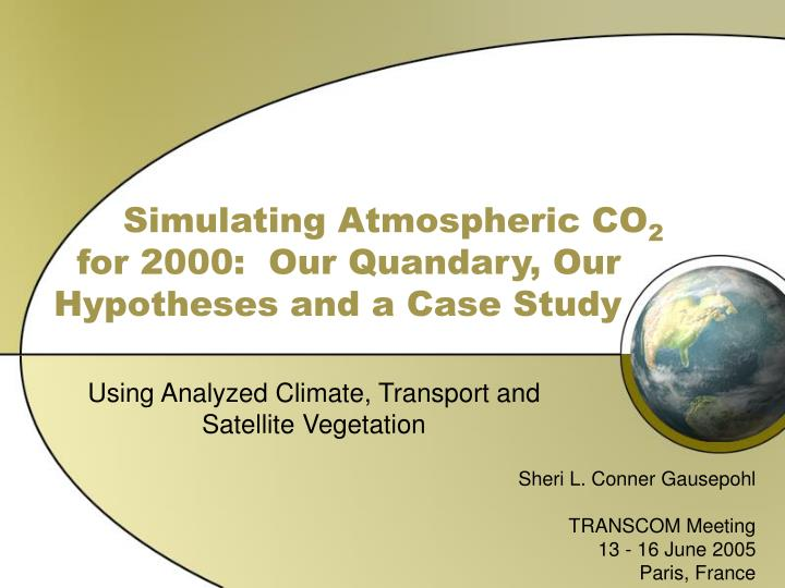 simulating atmospheric co 2 for 2000 our quandary our hypotheses and a case study n.