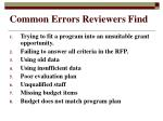 common errors reviewers find