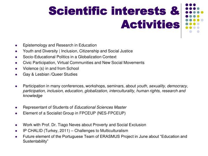 Scientific interests activities