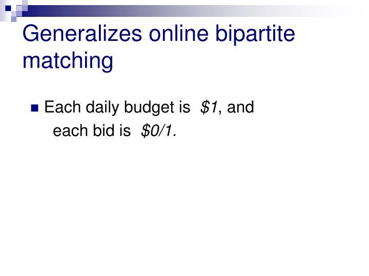 Generalizes online bipartite matching