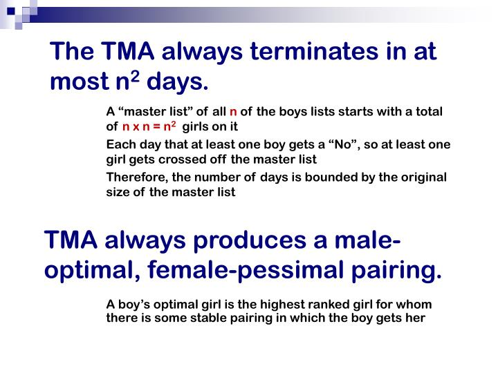 The TMA always terminates in at most n