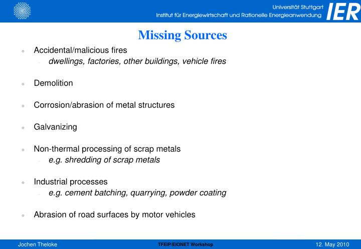 Missing Sources