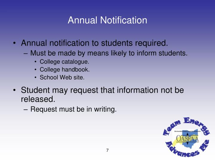 Annual Notification