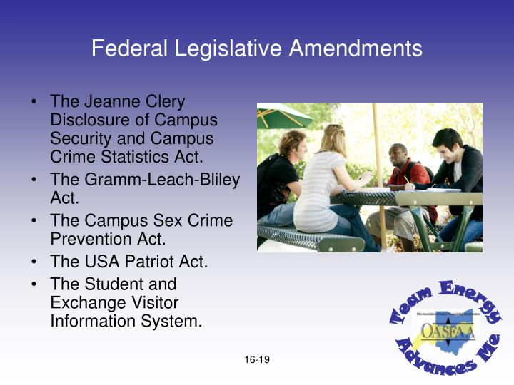 Federal Legislative Amendments