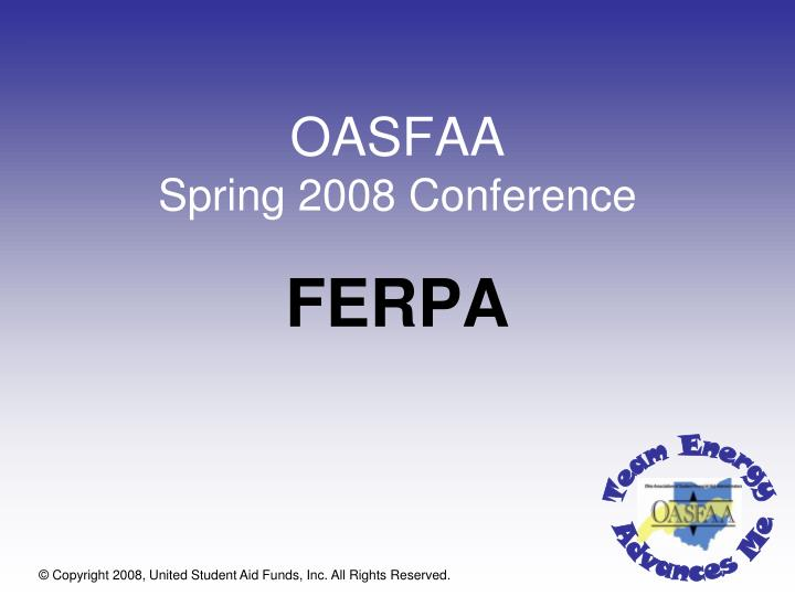 Oasfaa spring 2008 conference