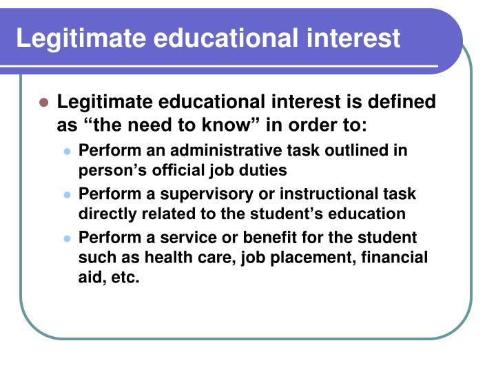 Legitimate educational interest